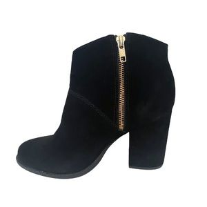Steve Madden Ankle Booties Leather Black Size 40 Gold Zipper Heel Boots